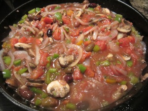 add tomatoes and olives
