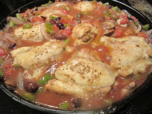 chicken back in pan with veggies