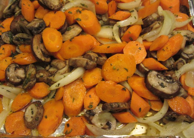 finished carrots and mushrooms