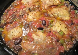 finished chicken cacciatore