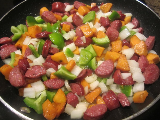 add peppers and onions
