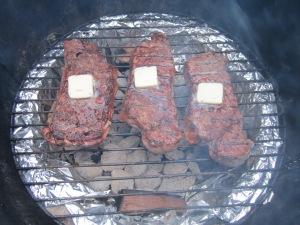 finished steak on smoker2