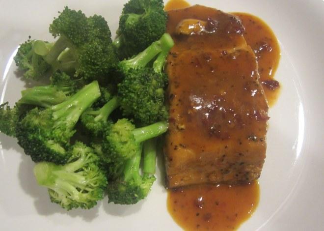plated salmon and broccoli
