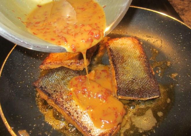 sauce on salmon