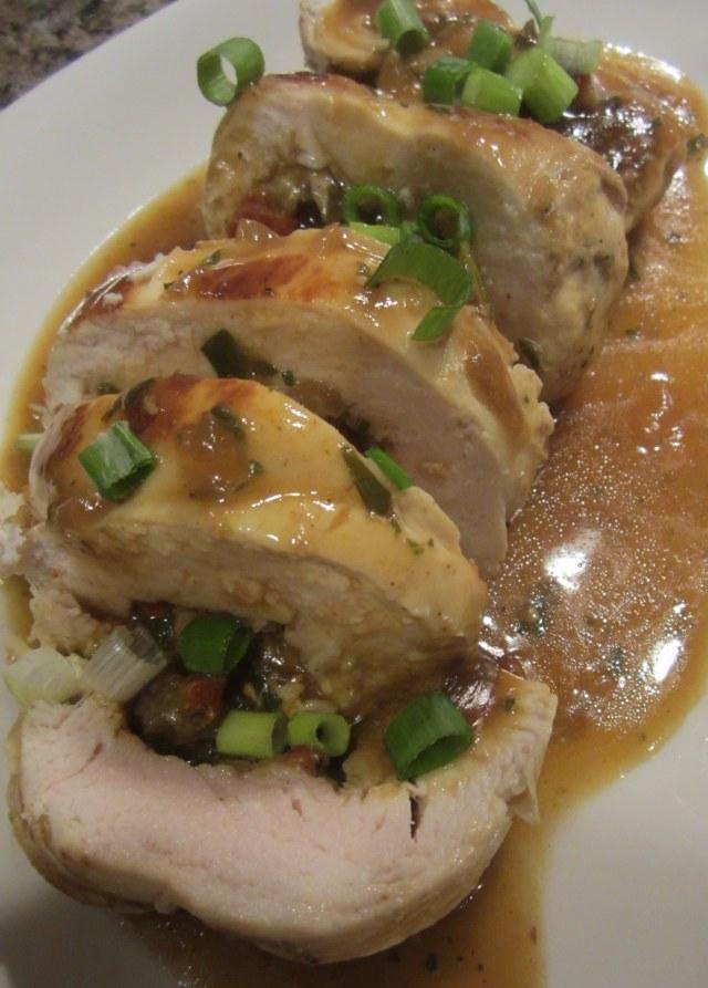 finished chicken with garnish
