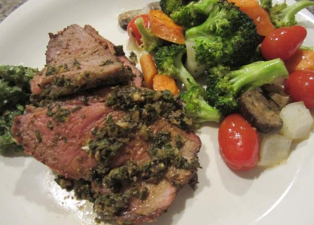 plated lamb and veggies