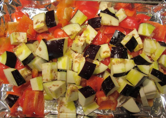 red peppers and eggplant