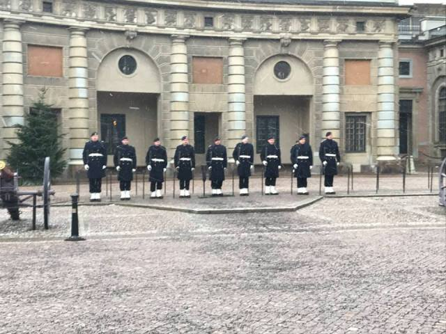 royal palace in sweden - changing of the guard